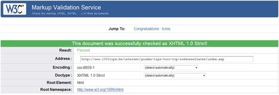 XHTML Strict validation succesfully checked