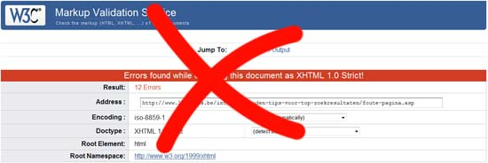 XHTML Strict validation errors